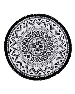 Kilim Round Pestemal Beach Towel - Black